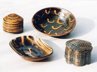 山根窯(石原幸二作) 蓋物、皿類